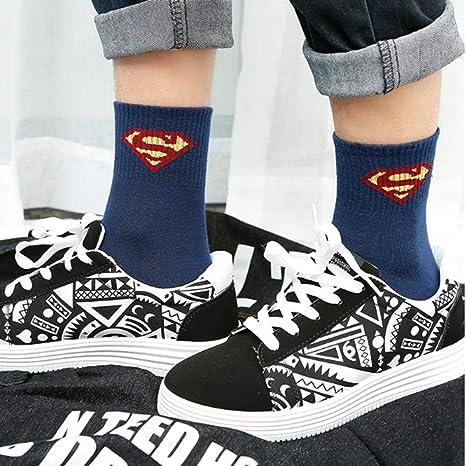WANG Calcetines Harajuku para Hombre Calcetines 100% algodón Hip Hop Street Skateboard Avengers League Tube 10 Doble, 44: Amazon.es: Deportes y aire libre