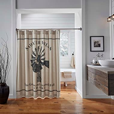 VHC Brands Farmhouse Bath-Sawyer Mill Tan Shower Curtain, 72 x 72, Charcoal Windmill