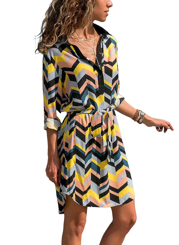 d8bfc7296d16 HOTAPEI Women's Summer Roll up Sleeve Button Down Tie Waist Shirt Dress at Amazon  Women's Clothing store: