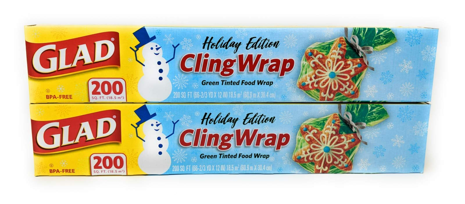 Glad Holiday Cling Wrap Plastic Wrap - Green - 200sq ft (Pack of 2) by Glad