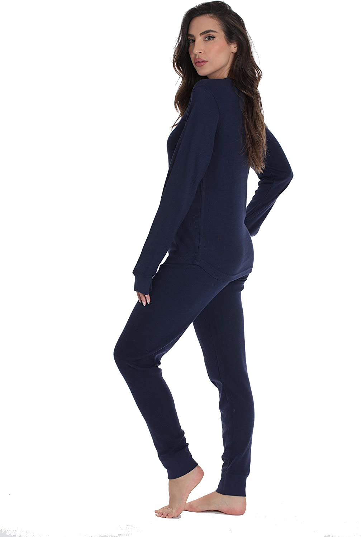 #followme Womens Thermal Henley Jogger Pant Set