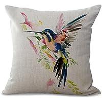 Beautiful Hummingbird Print Cushion Cover Modern Pillow Covers 18X18 inch Cotton Linen Throw Pillow Case Square…