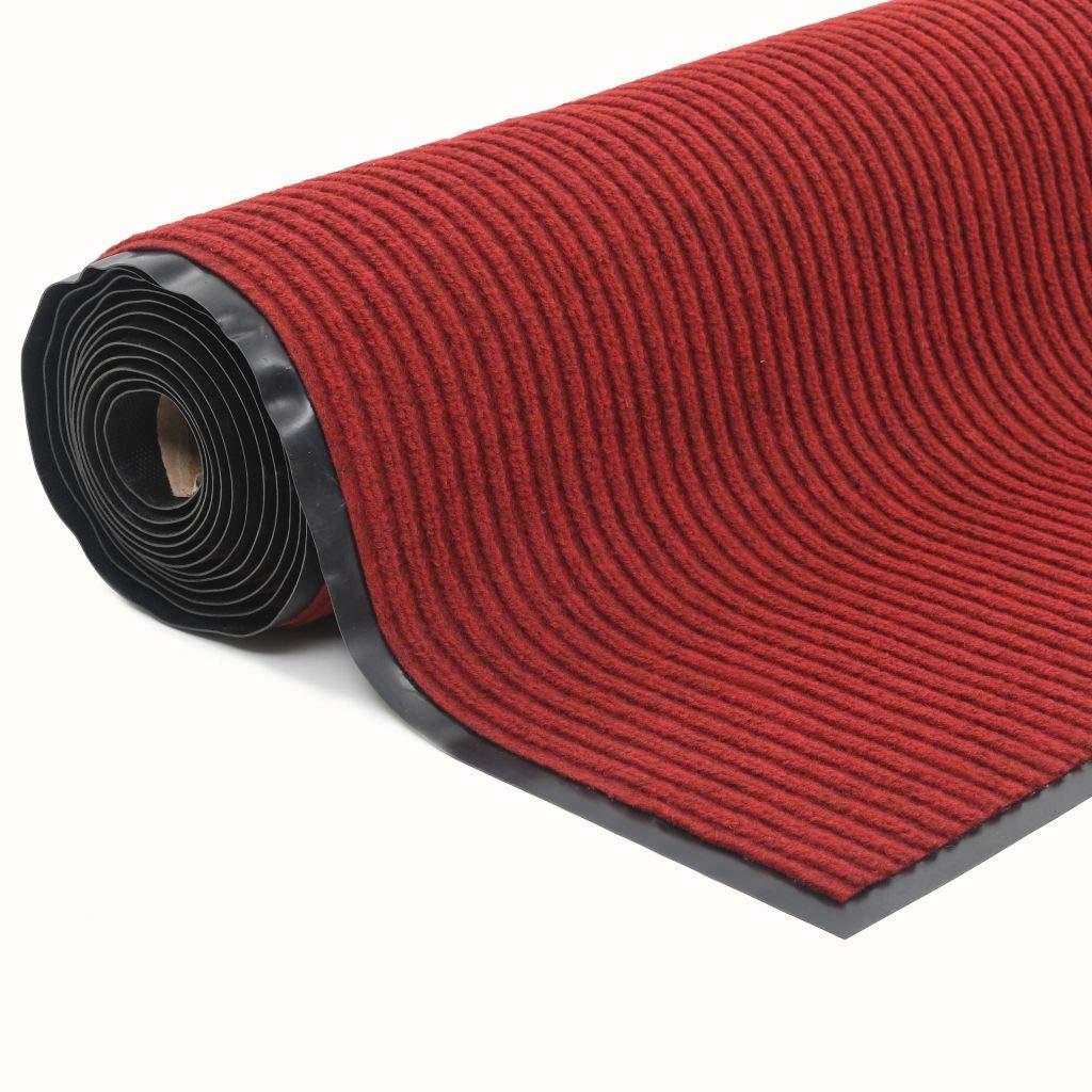 VidaXL Fußmatte mit Vinyl-Unterseite Rutschfest 1,2x10m Rot Schmutzfangmatte