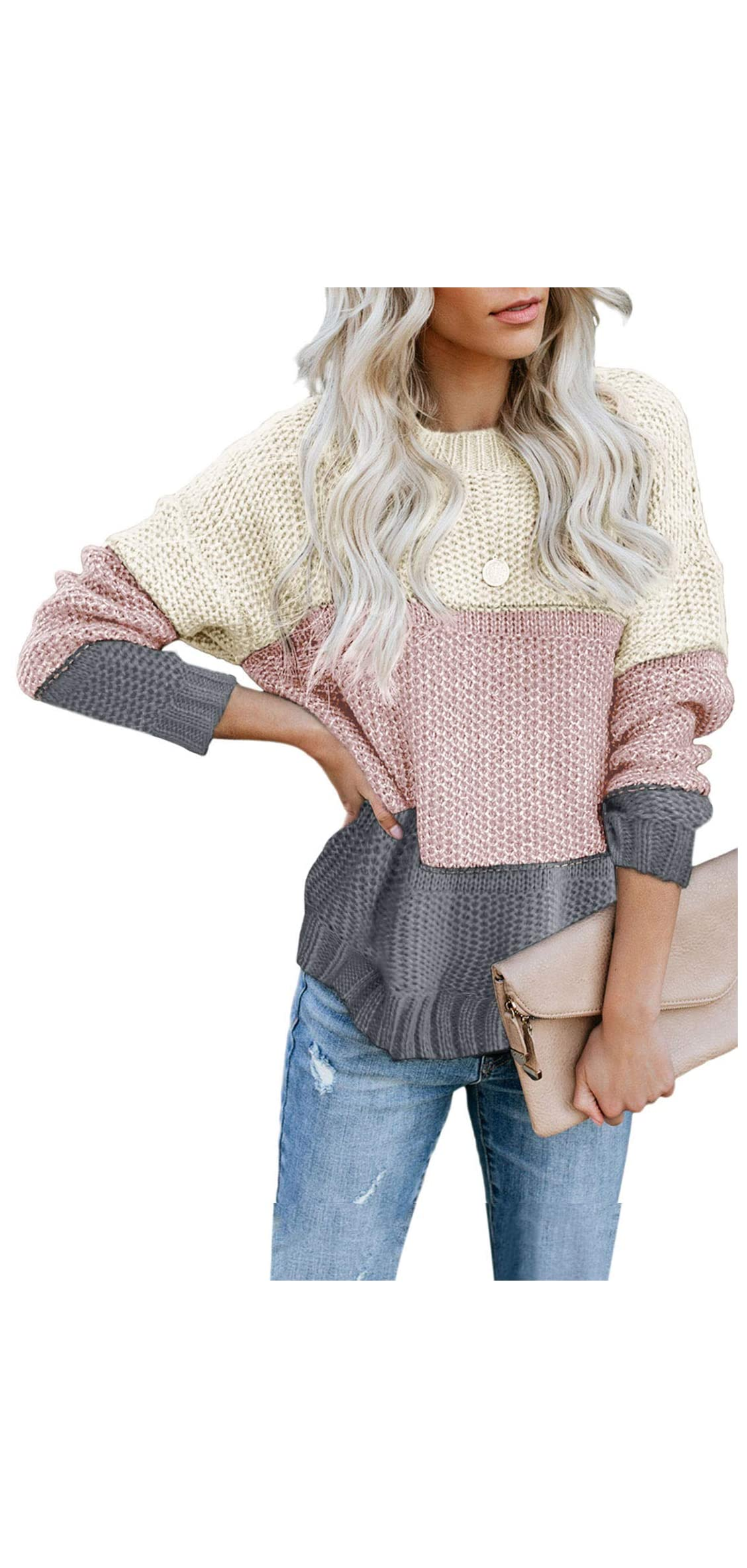 Womens Color Block High Neck Ribbed Knit Oversized