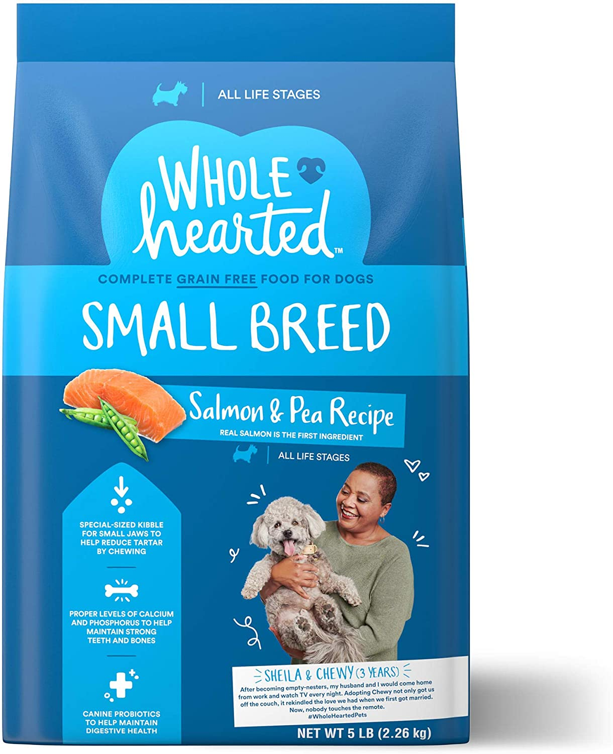 WholeHearted Grain Free Small Breed Salmon and Pea Recipe Dry Dog Food for All Life Stages, 5 lbs.