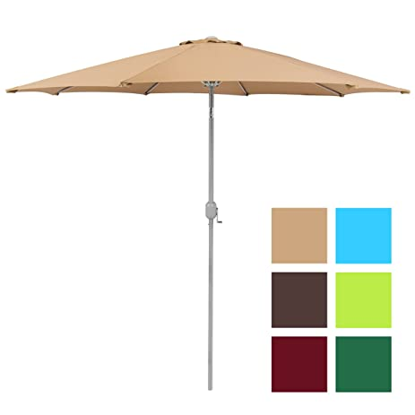 Wonderful Best Choice Products Patio Umbrella 9u0027 Aluminum Patio Market Umbrella Tilt  W/ Crank Outdoor