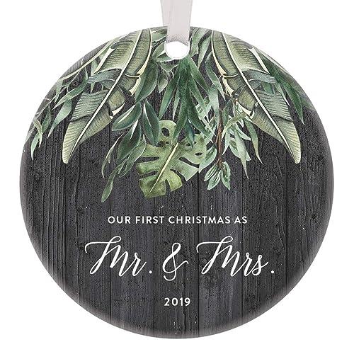 Amazoncom Mr Mrs First Christmas Ornament 2019 1st