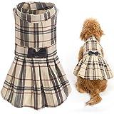 CHOLOGIFT Classic Plaid Dog Dress Cute Puppy Clothes Outfit Medium