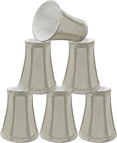 Aspen Creative 30245-6 4 Bottom Width Transitional Design Small Bell Shape Chandelier Clip-On Lamp Shade Set 6 Pack , 2 1 2 x 4 x 5 , Silver-Grey