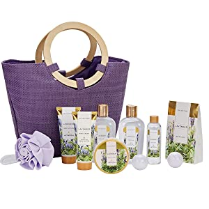 Spa Luxetique Lavender Spa Gift Baskets for Women, Premium 10pc Gift Baskets, Best Holiday Gift Sets for Women - Deluxe Spa Tote Bag with Wooden Handle, Bath Salt, Hand Soap, Shower Gel and More!