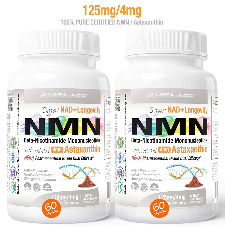 2 x NMN 60 Capsules 125mg Vita-Age Certified NMN – Nicotinamide Mononucleotide Astaxanthin – Sirtuin Activation Anti-Aging DNA-Repair Energy NAD Antioxidants