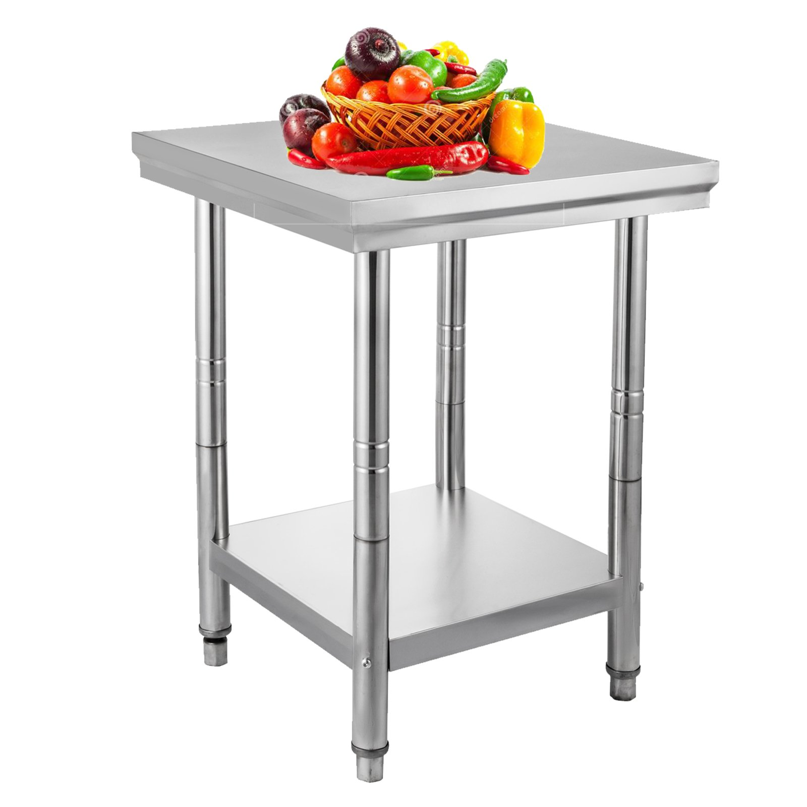 VEVOR NSF Stainless Steel Work Table Prep Work Table for Commercial Kitchen Restaurant (24x24x32 IN)