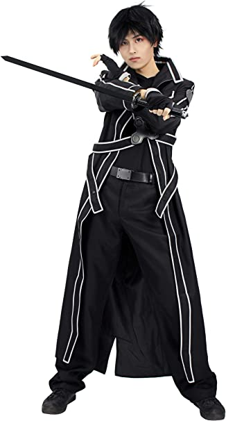 Amazon.com: DAZCOS US Size Mens Kirito Cosplay Costume ...