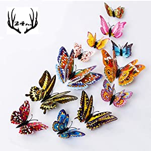 Rich Boxer 24 PCS 3D Luminous Butterfly Wall Stickers Art Decor Crafts Butterfly Wall Decals Removable DIY Home Decorations Magnets and Double-Sided Tape Set