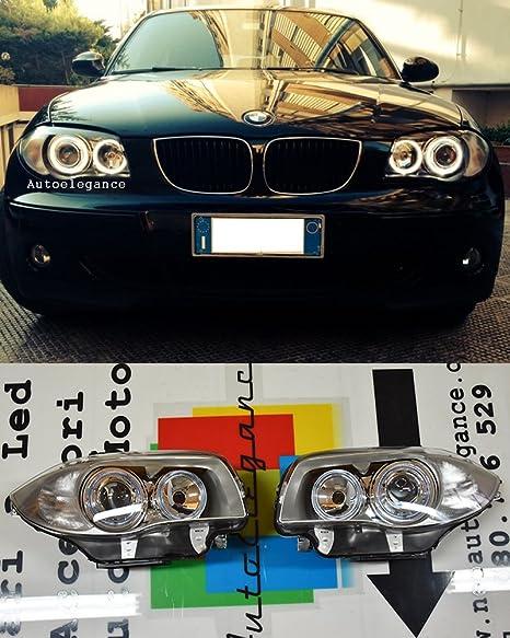 KG DEPO Phares Angel Eyes Set Verre Transparent Argent avec veilleuse AD Tuning GmbH /& Co