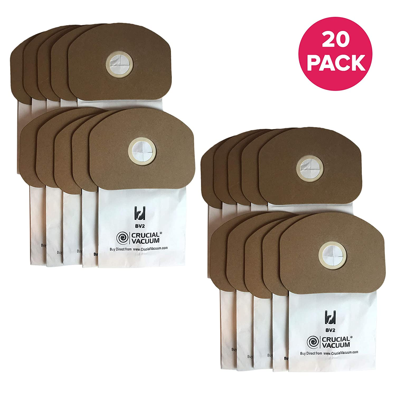 Think Crucial 20 Replacements for Eureka BV-2 Bags Fit Sanitaire, Backpack, Carpet Pro, Piranha, Tornado, Compatible With Part # 62370