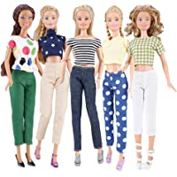 E-TING 5 Set Doll Clothes Casual Wear Outfit 5 Tops 5 Trousers Pants for 11.5 inches Girl Doll