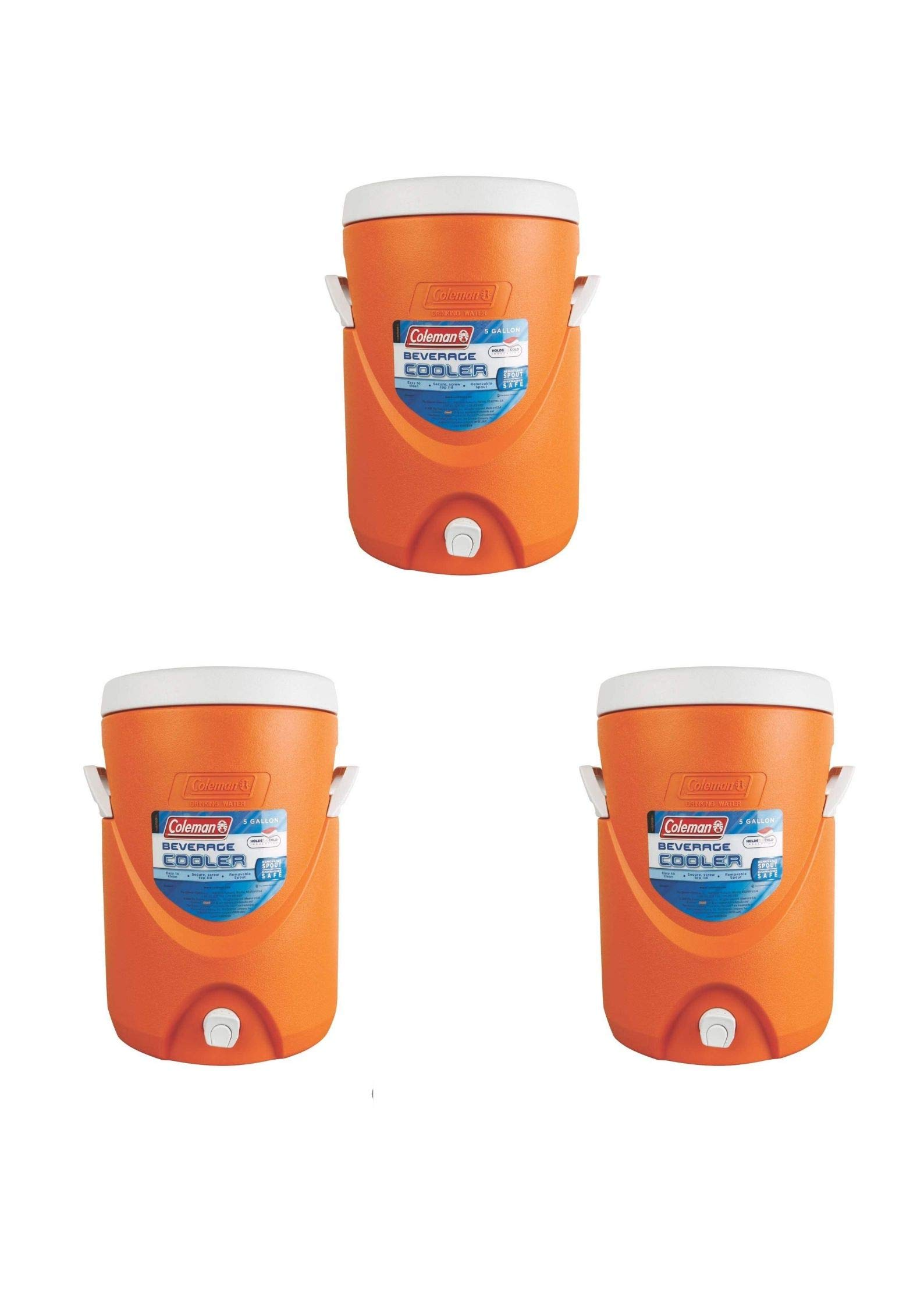 Coleman 5-Gallon Team Cooler (3 Pack,Orange)
