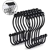 Goowin Shower Curtain Hooks, 12 Pcs Shower Curtain Rings, Stainless Steel Roller Rust-Resistant Balance Sliding Anti…