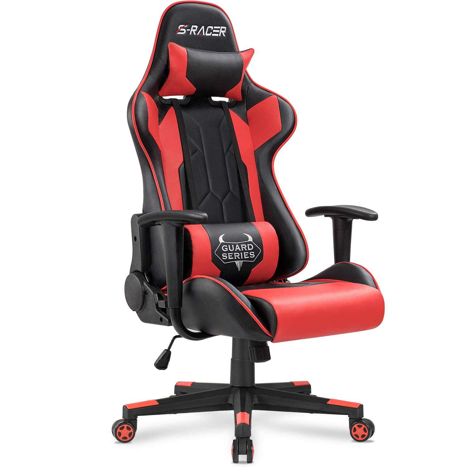 Homall Executive Swivel Leather Gaming Chair, Racing Style High Back Chair with Lumbar Support and Headrest (NSR/Red) by Homall (Image #1)