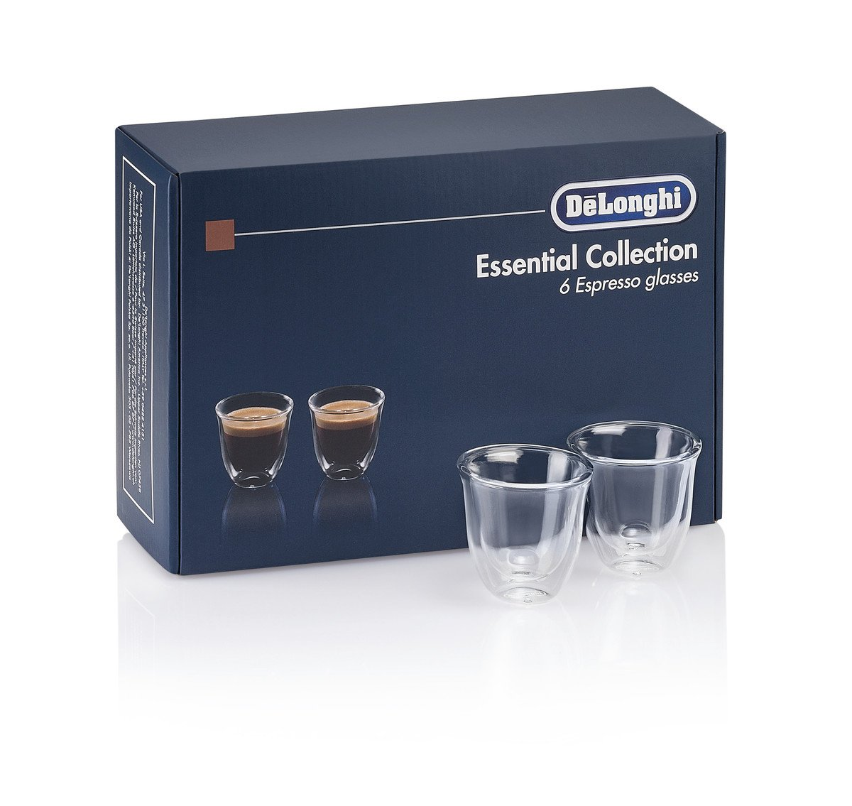 DeLonghi America 5513296651 Essential Collection Double Walled Thermo Espresso Glasses (Set of 6), Clear