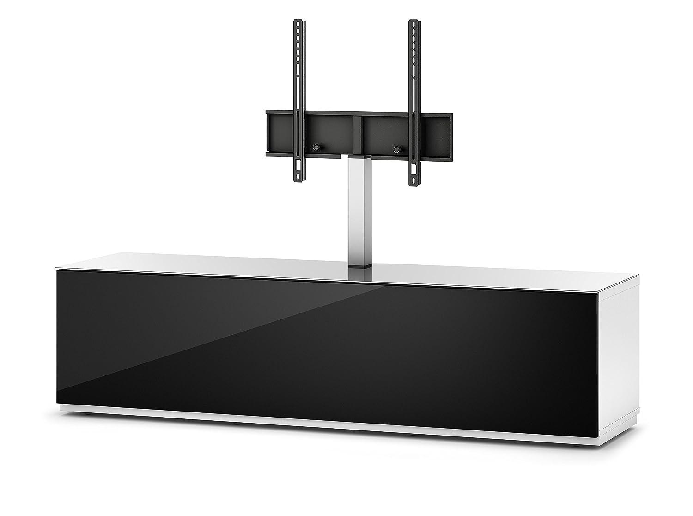 Sonorous STA 161F-WHT-BLK-BS stehende TV-Lowboard mit TV-Aufhängung, versteckten Rollen, weißer Korpus, obere Fläche, gehärtetem Weißglas und Klapptür mit gehärtetem Schwarzglas