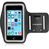 MoKo Armband for iPhone SE / 5 / 5S / 5C, Protective Sports Armband for Apple iPhone SE / 5 / 5S / 5C - Key Holder & Card Slot, Water Resistant, Sweat-proof, Perfect Earphone Connection, BLACK