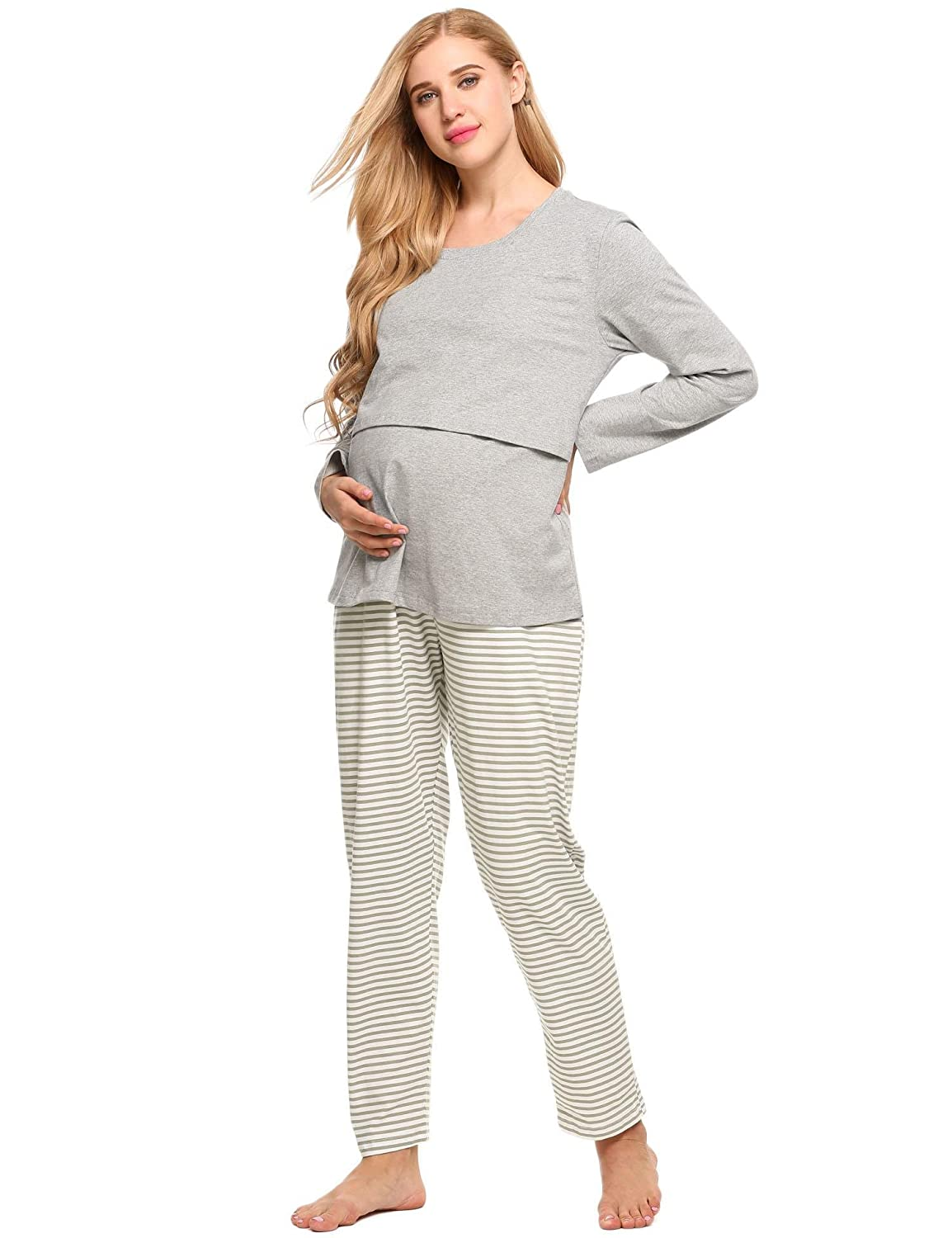 37a04d3d57d Aimado Maternity Sleepwear Sets for Women Long Sleeves Pjs Nursing Gowns at  Amazon Women's Clothing store: