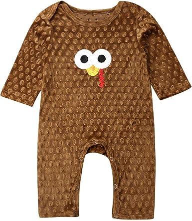 Kelala Baby Newborn Boy Girl Thanksgiving Turkey Long Sleeve Striped Fall Winter Bodysuit Pajamas Jumpsuit One-Piece Outfit