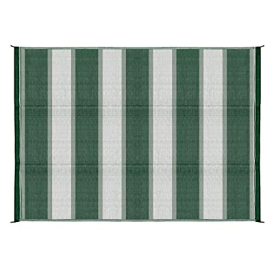 Camco 42870 Awning Leisure Mat-Green Stripe 6' X 9': Automotive