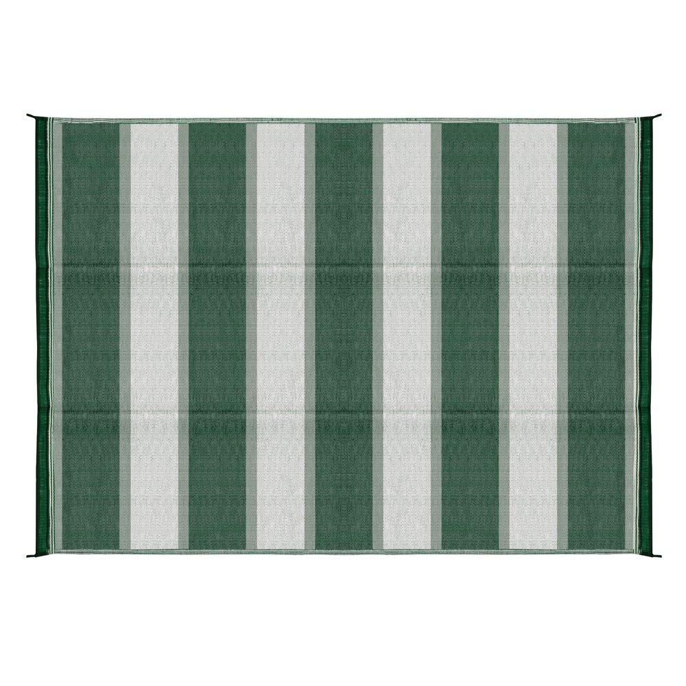 Camco 42870 Stuoia Reversibile per Esterni, 1.83 x 2.74 m, Verde con Motivi a Strisce
