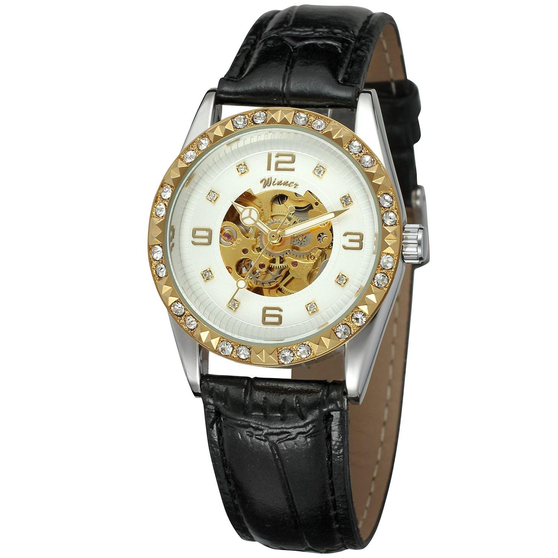 FORSINING女性のファッション自動自動巻きスケルトンアナログレザー元Watch wrl8117 m3t1 B06XYQLRTJ