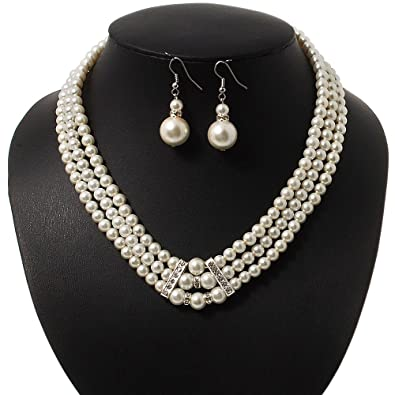 Avalaya 3-Strand Simulated Glass Pearl Necklace & Drop Earrings Set In Silver Plated Metal - 45cm L 5Dq3h