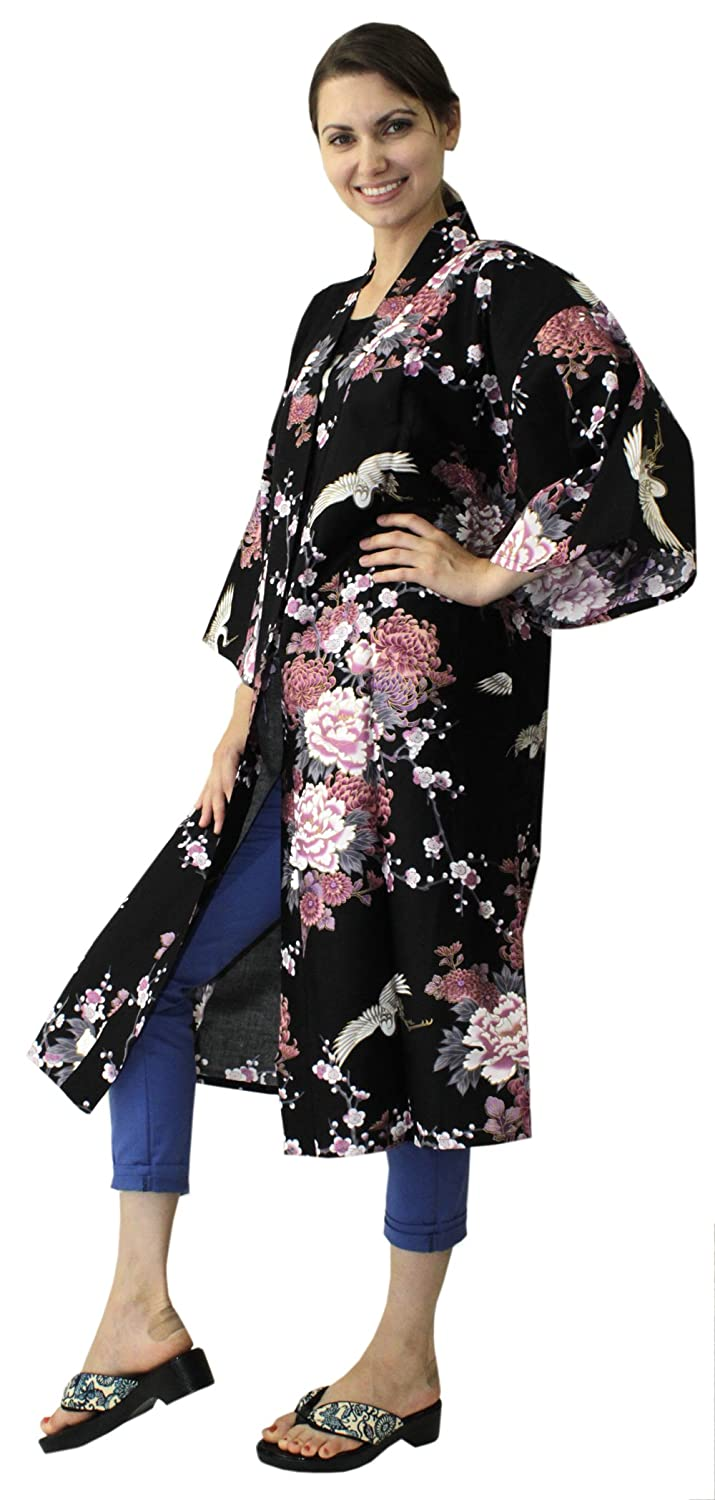 6547b8a8ca Japanese Women s Kimono Robe Happi Coat Dress Cotton Crane Peony Black at  Amazon Women s Clothing store