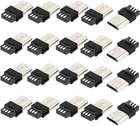 Sourcing Map 20stück Micro Usb 5 Pin Typ B Stecker Löten Stecker Buchse Elektronik