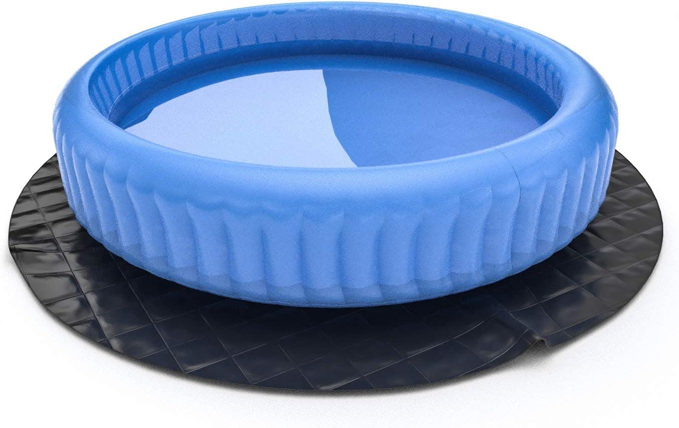 Protector suelo para piscinas,Lonas para suelos de piscinas para piscinas,SPA Piscina,Durable Grueso Suave,φ2.4M,Negro,Laxllent