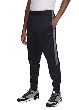 ff90e958e9f0f2 Spalding Mens Tricot Tapered Track Training Active Pants Jogger Sweatpants  Black Concrete Small