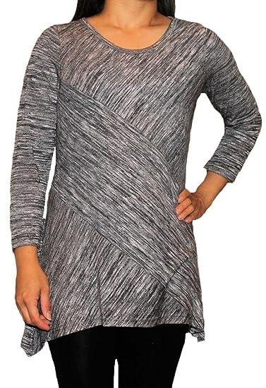 55362c07445ab Zac and Rachel Woman Plus Size Lightweight Long Sleeve Tunic-XXL-Grey