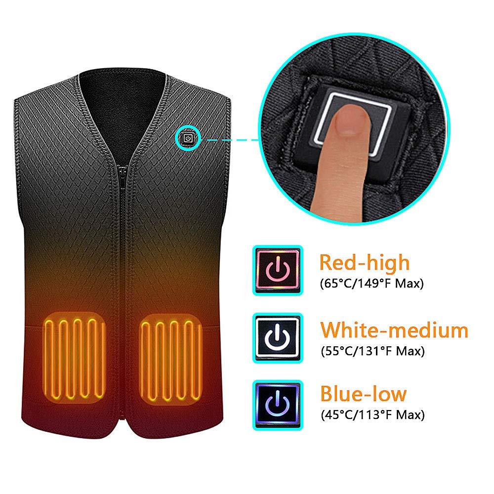 senza batteria Giacca riscaldabile elettrica Motocicletta Alimentato da batteria ricaricabile Scaldino riscaldante per uomo e donna Escursionismo allaperto Caccia Suxman Gilet riscaldato USB Campeggio