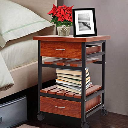 Amazon Com Karmas Product Beside Table With Drawers Rolling