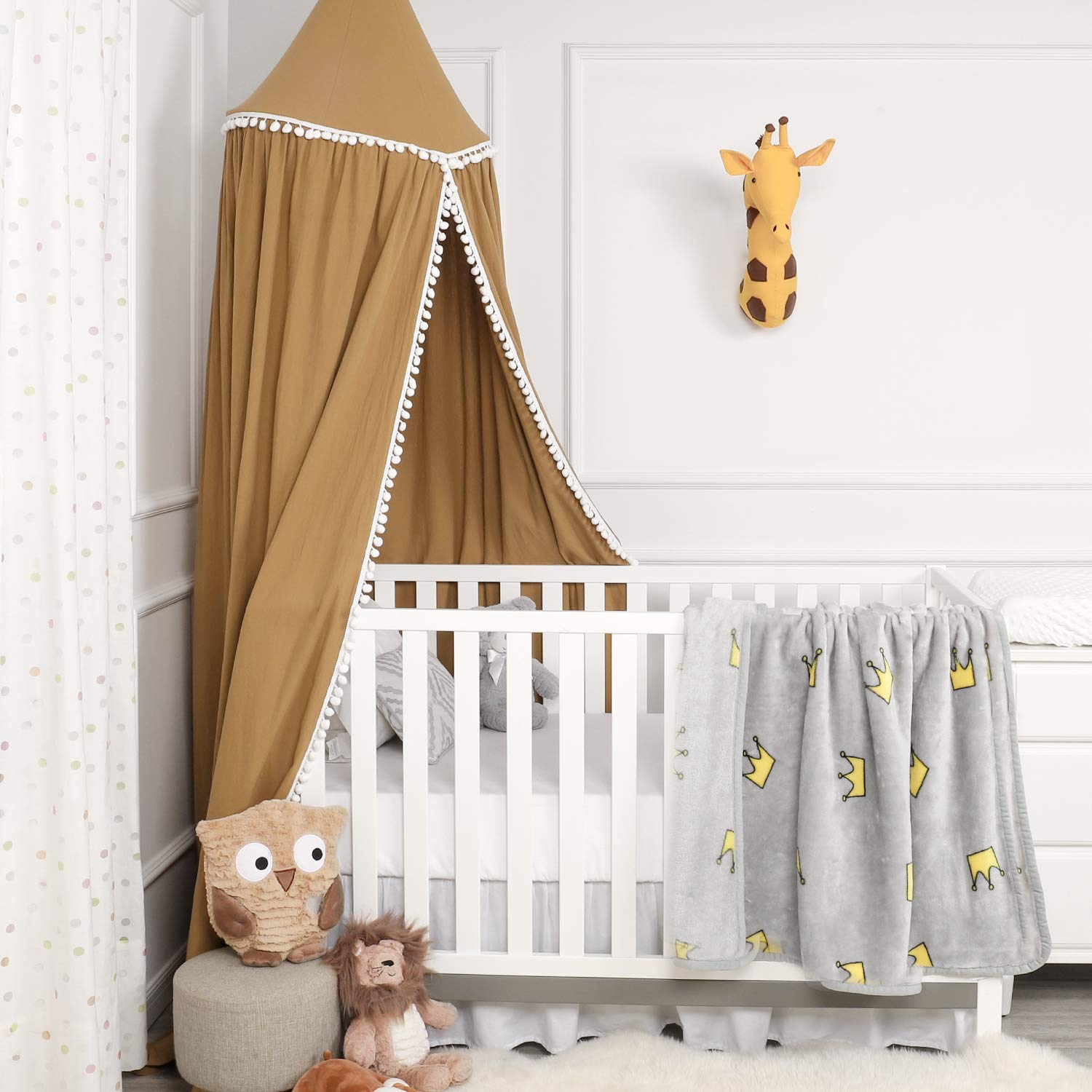 TILLYOU Baby Bed Canopy with Pompoms, 100% Cotton Canopy for Crib and Toddler Bed, Hanging Game Tent for Kids, Mosquito Net Nursery Play Room Decor, Burnt Sugar