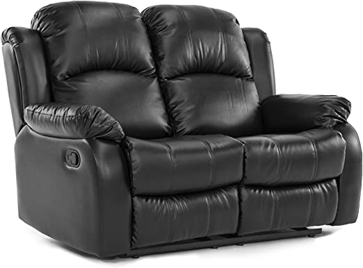 Classic Loveseat Recliner in Bonded Leather - 2 Seater Recliner Sofa (Black)
