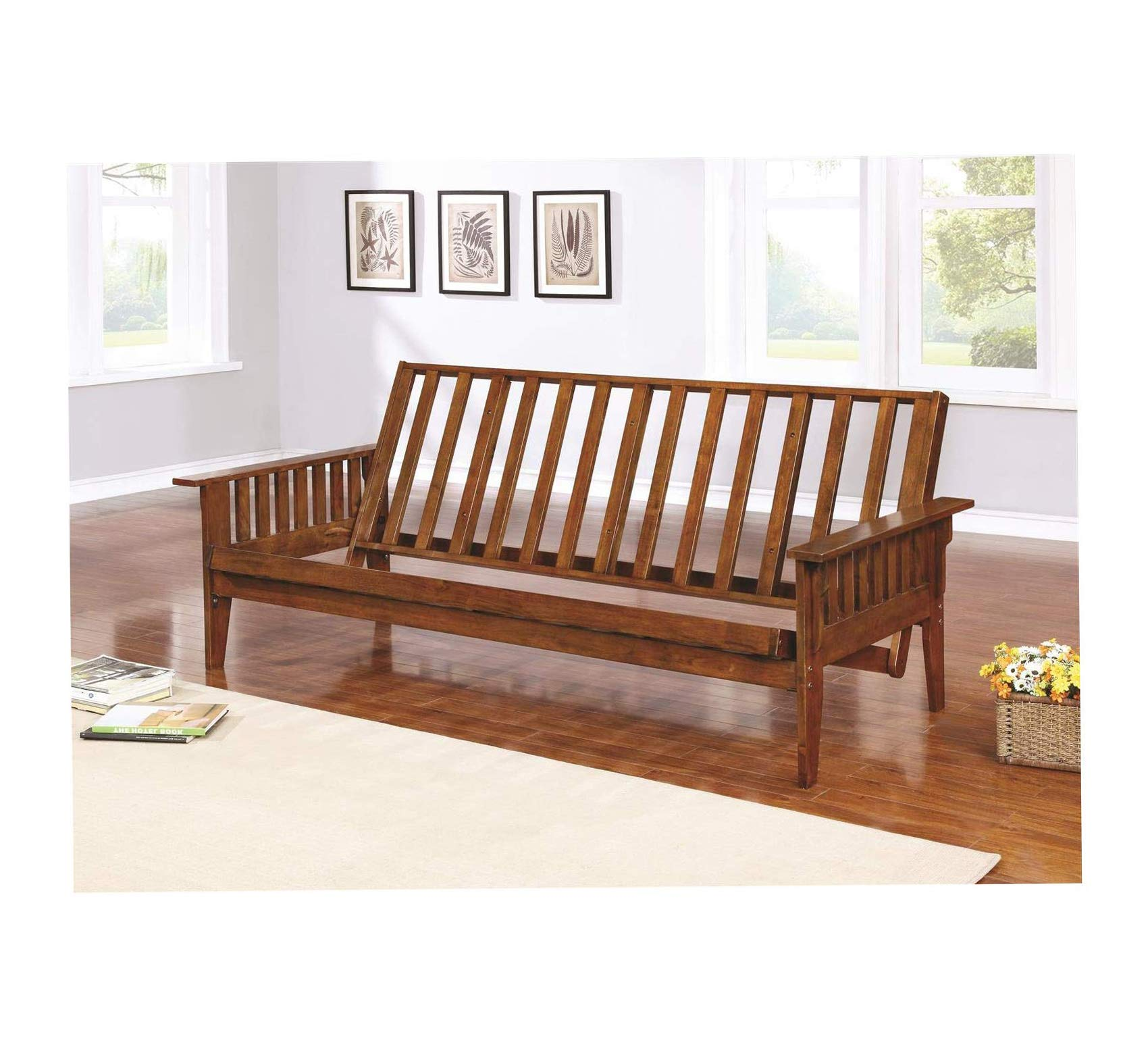Wood & Style Home Futon Frame with Slat Side Detail Dirty Oak Office Décor Studio Living Heavy Duty Commercial Bar Café Restaurant by Wood & Style