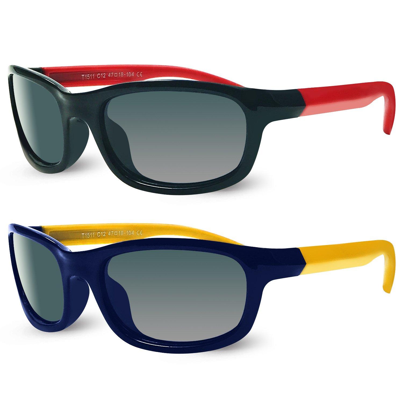 Kids Polarized Cat Eye Aviator Sunglasses for Girls Boys Children Pack of 2