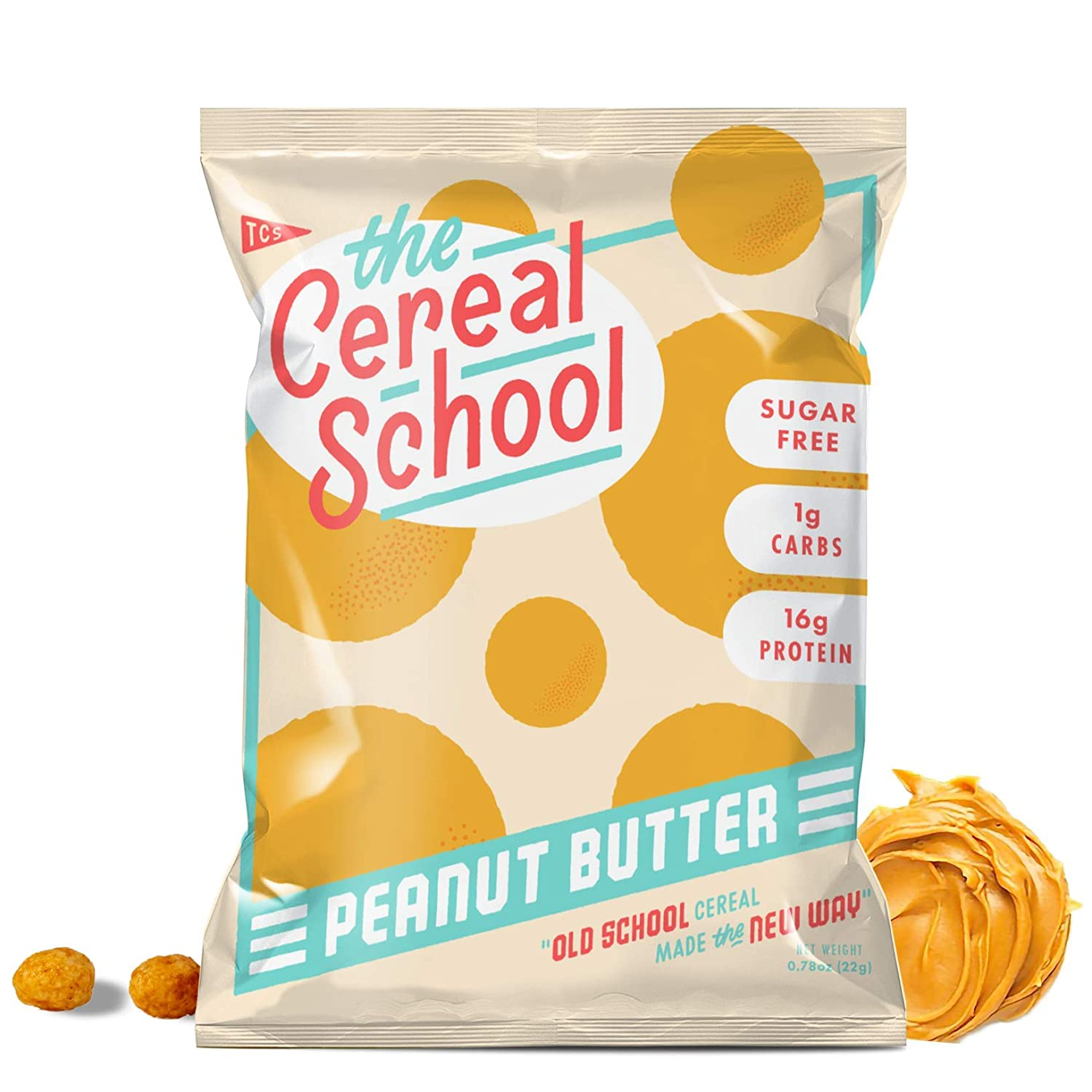 The Cereal School - Keto Cereal - Gluten Free - Sugar Free - Grain Free - Low Carb (Net 1g) - High Protein (16g) - Keto Approved Ingredients - Keto Friendly Snack - Peanut Butter - 12 Bags