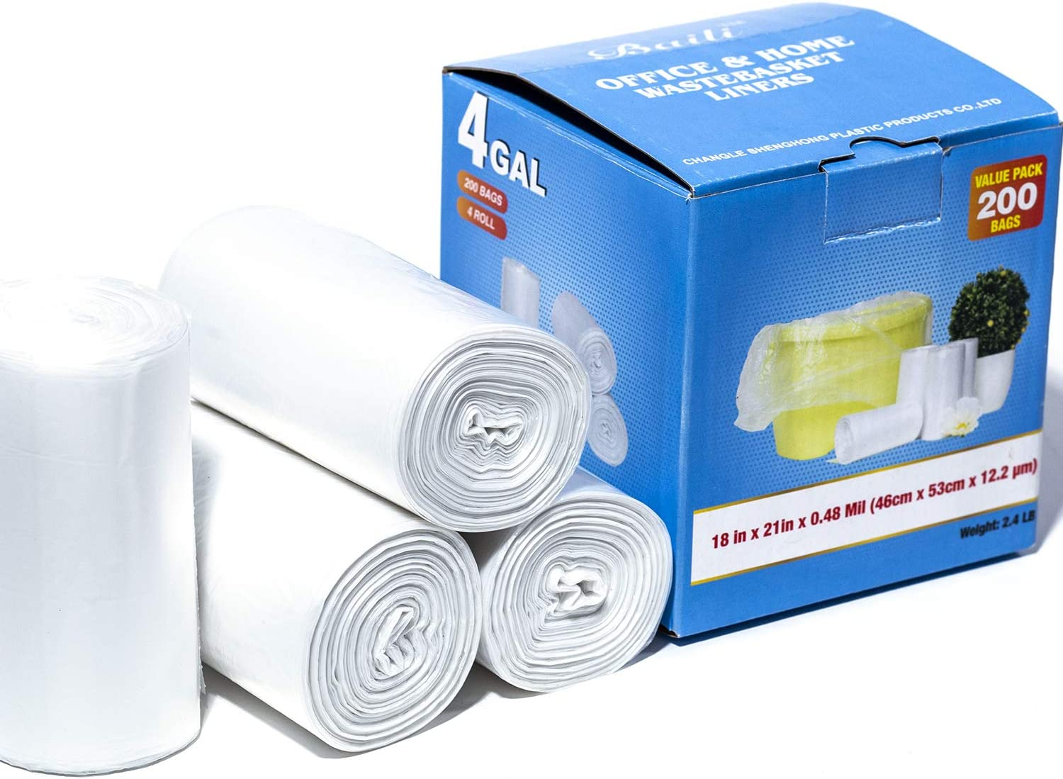 4 Gallon 200 Counts Small Trash Bags Bathroom Garbage Bags Clear Plastic for Home and Office Bins kitchen trash recycling bags