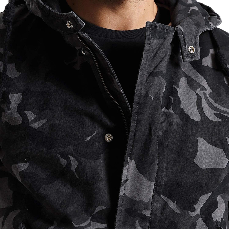 Love essentials Fashion coat Winter Coats Men Camouflage Jacket Men Pocket Slim Fit Hooded Parka Trench