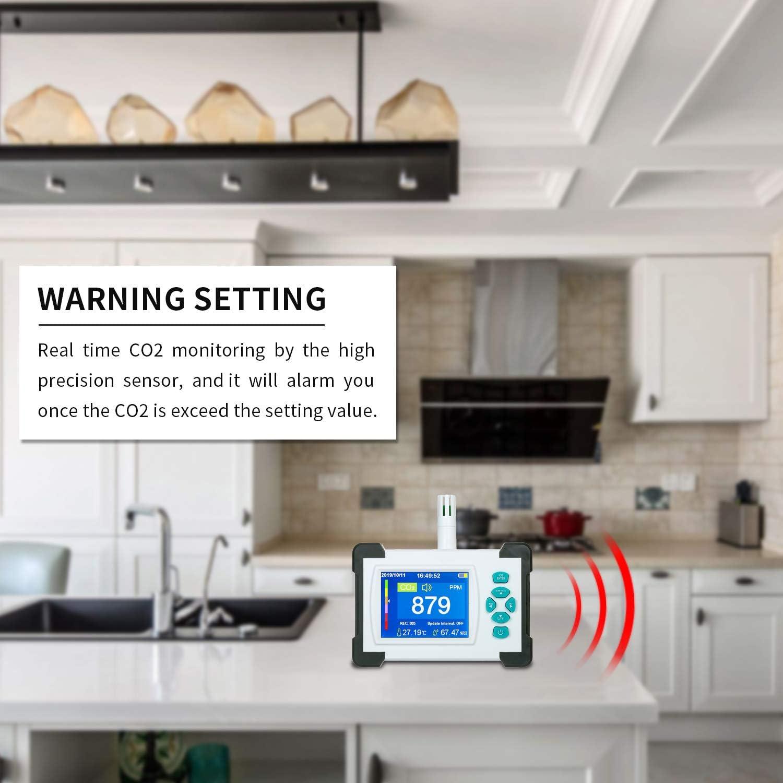 Tickas Detector de di/óxido de carbono con bater/ía recargable Medidor de CO2 port/átil Probador para di/óxido de carbono Detector de calidad del aire CO2 Medidor Monitor con estuche de almacenamiento
