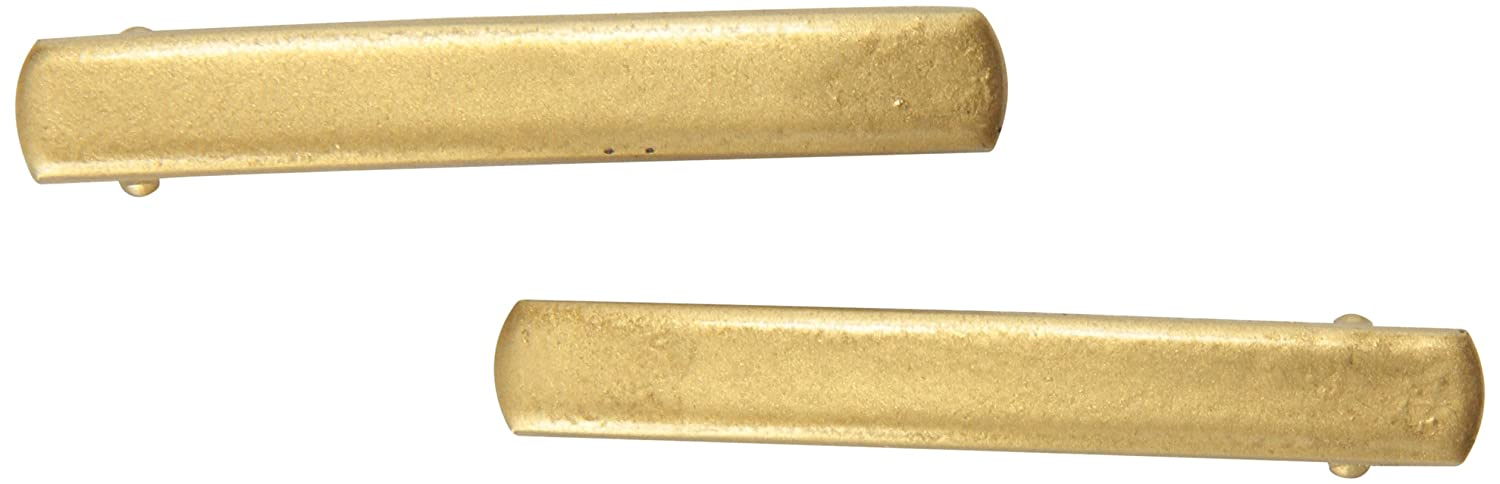 Caravan Small Dome Automatic Barrettes In Matt Gold Pair 8563-2