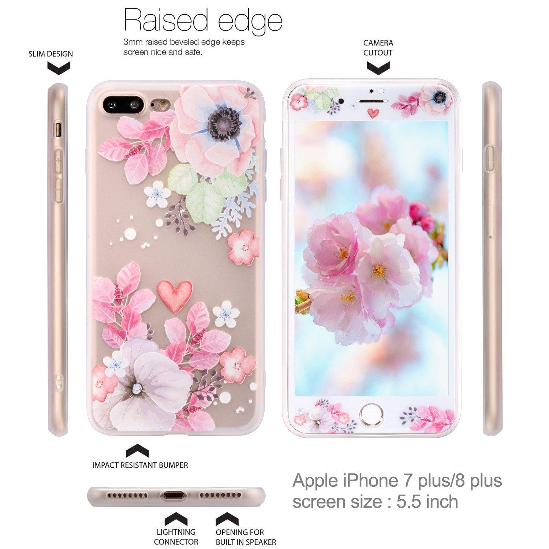 iPhone 8 Plus Hülle iPhone 7 Plus Hülle Panzerglas ZXK CO TPU Silikon Hülle Schutzhülle mit Muster Protective Backcover Case mit 9H Hartglas